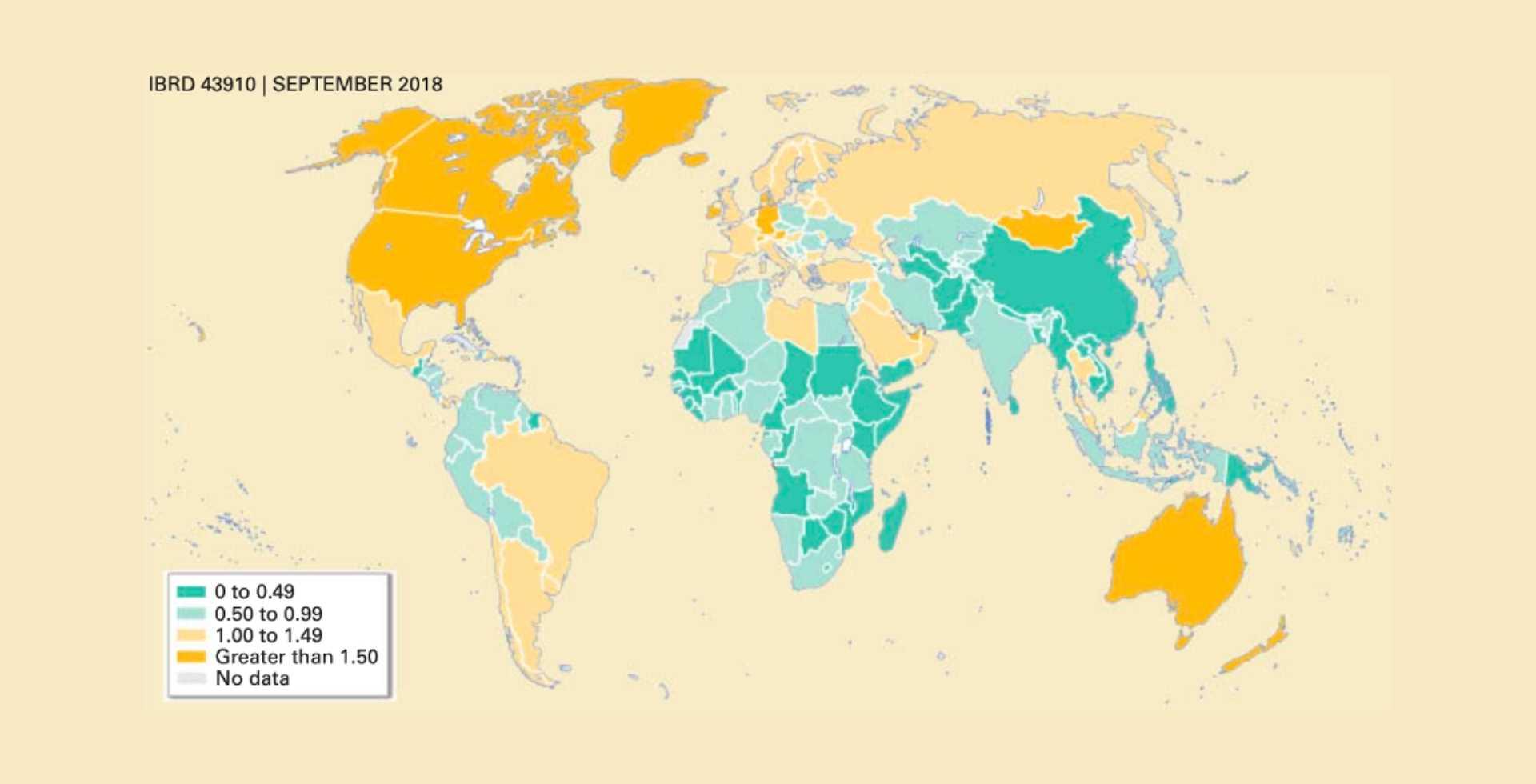 Produzione nazionale pro capite giornaliera di rifiuti espressa in kg (World Bank 2018
