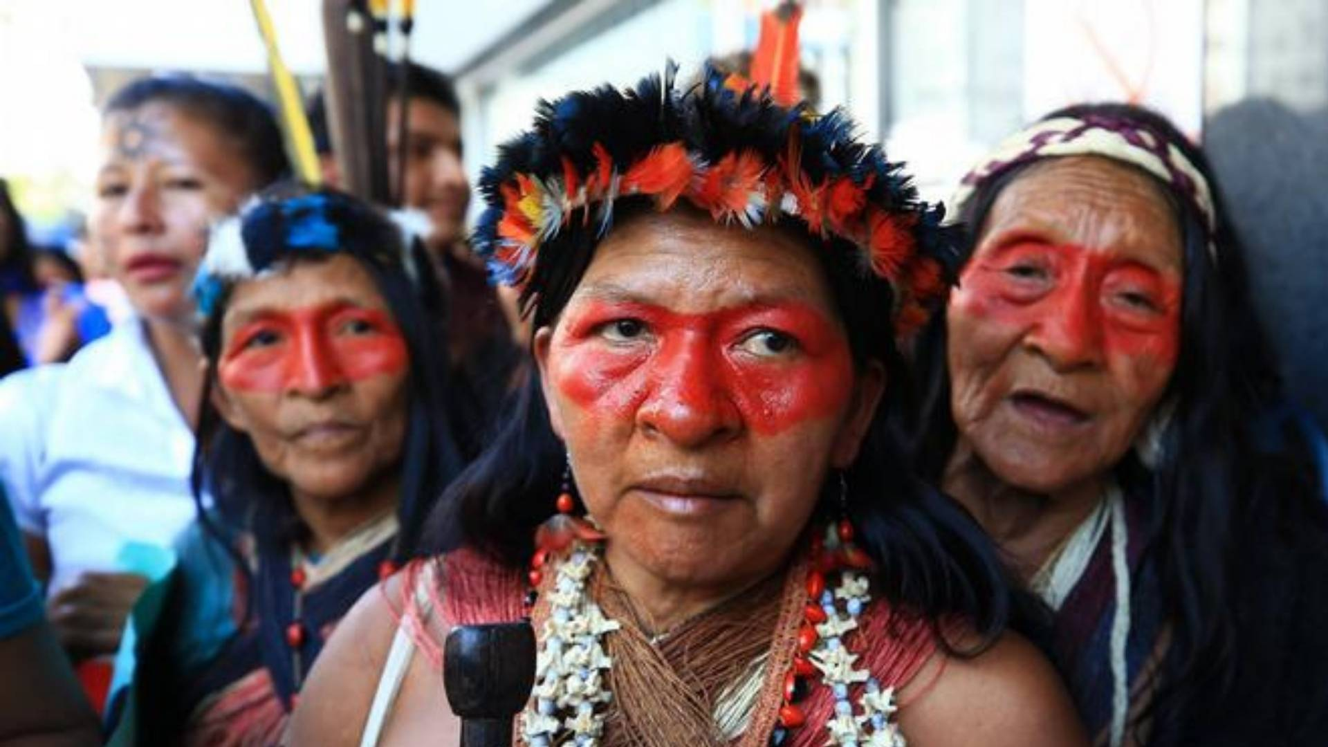 Worani people from the Ecuadorian Amazon protest against an oil project in Quito ©Imago Images